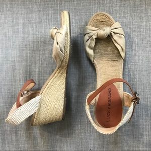 Lucky Brand Jute Beige Knotted Espadrilles Wedges